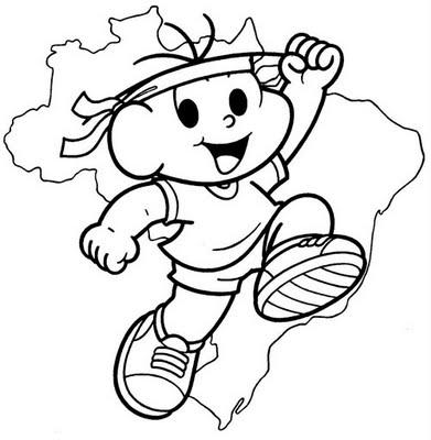 Desenho Dia da Pátria para colorir Cebolinha Turma da Mônica