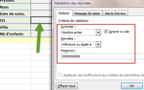 validation des données nombre entier telephone