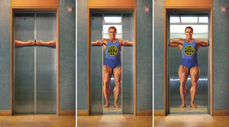 creative advertising in elevators, Gold's Gym