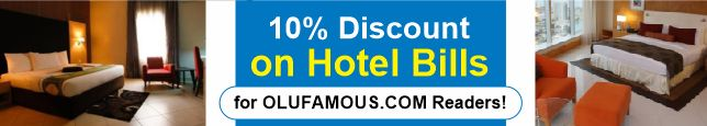10% Discount if You Book A Hotel on Jumia Travel. PROMO Code = Olufamous10