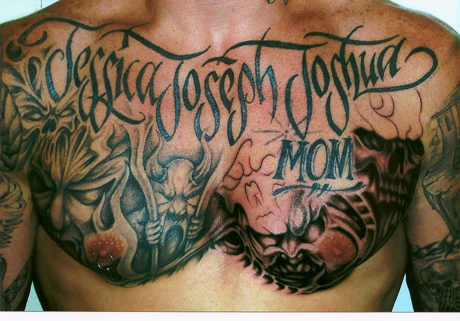 Weapon In Chest Tattoos For Men Tribal Chest And Arm Tattoo For Guys