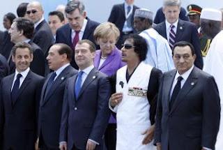 Berlusconi Sarkozy Medvedev Gaddafi Merkel Brown Mubarak