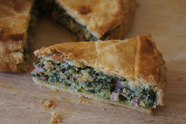 silverbeet and bacon pie