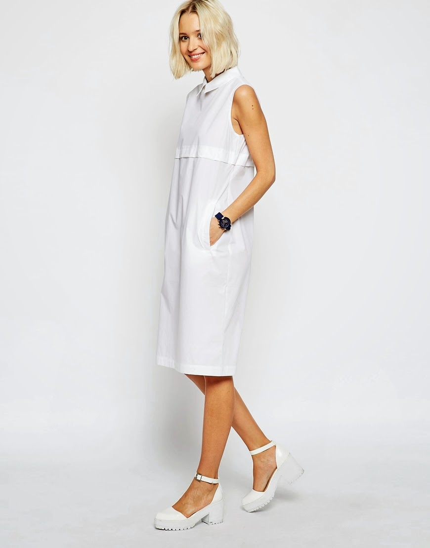asos white shirt dress, white sleeveless shirt dress,