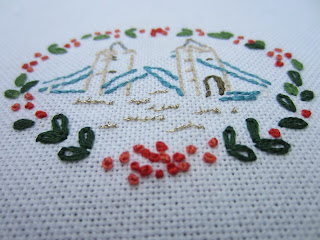 vintage tower bridge embroidery hand stitched Norman Hartnell Womans Day