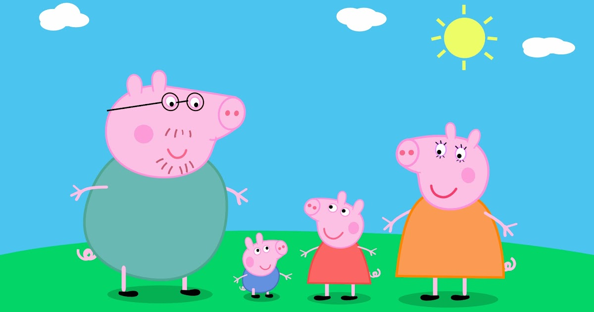 how to draw peppa pig and her family