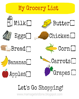 Kid's Grocery List Printable