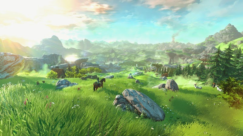 Screenshot of untitled The Legend of Zelda game for Wii U. The image shows Link sitting on his horse on a grassy hill, with mountains in the background, including what appears to be Death Mountain. A few homes and other structures can be seen in the distance.