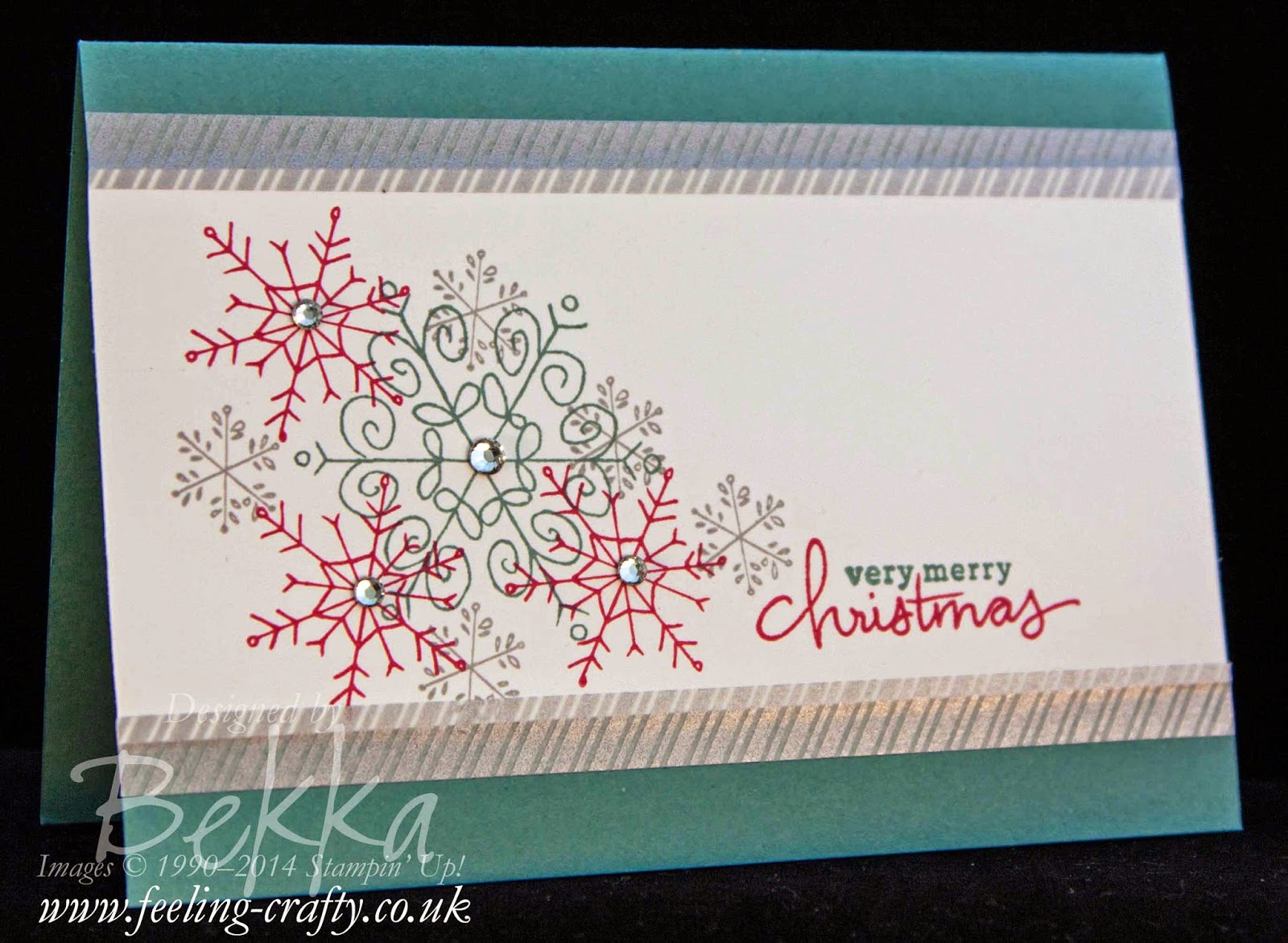 Fast and Fabulous Christmas Card using Endless Wishes from Stampin' Up! UK Independent Demonstrator Bekka - check out the video on how to make this card