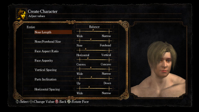 Dark Souls create character adjust face screen