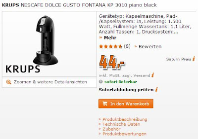 Krups Nescafé Dolce Gusto Fontana KP 3010 in rot oder schwarz beim Saturn Super Sonntag für nur 44 Euro