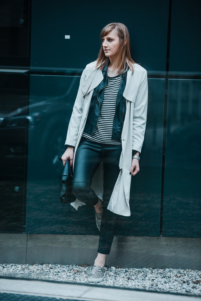 coat over jacket outfit, layering, layered outfit, ootd, snake slip on sneakers hm, hm leather pants, hm beige long trench coat, striped shirt, style blogger, fashion blog