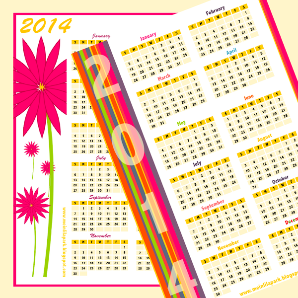 Free printable 2014 calendars in happily colored border design