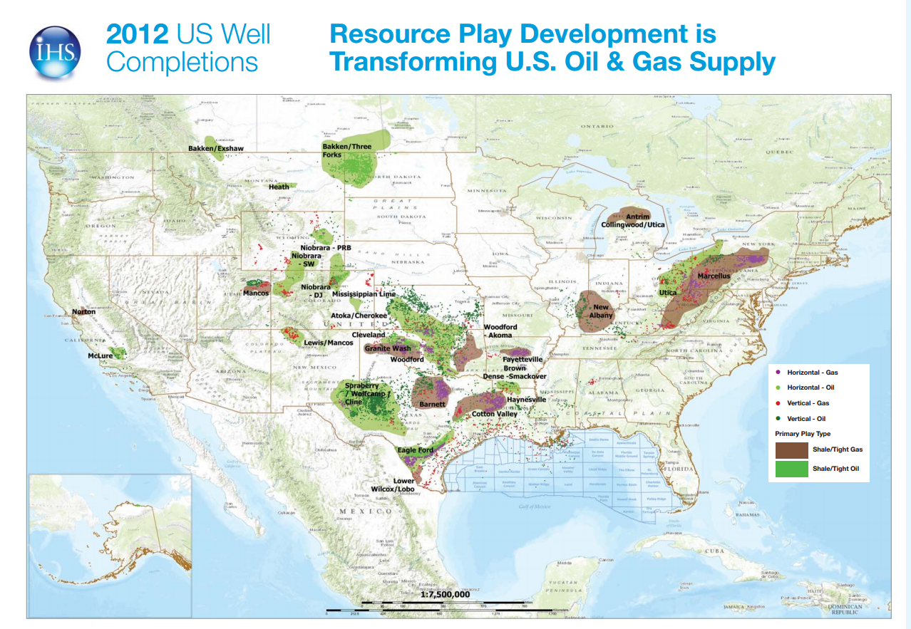 U.S. Oil & Gas Well Completions Map from IHS