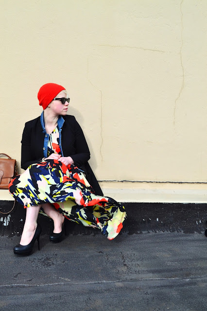 Fleur d'Elise, blonde, short hair, in style, Seattle, floral maxi dress