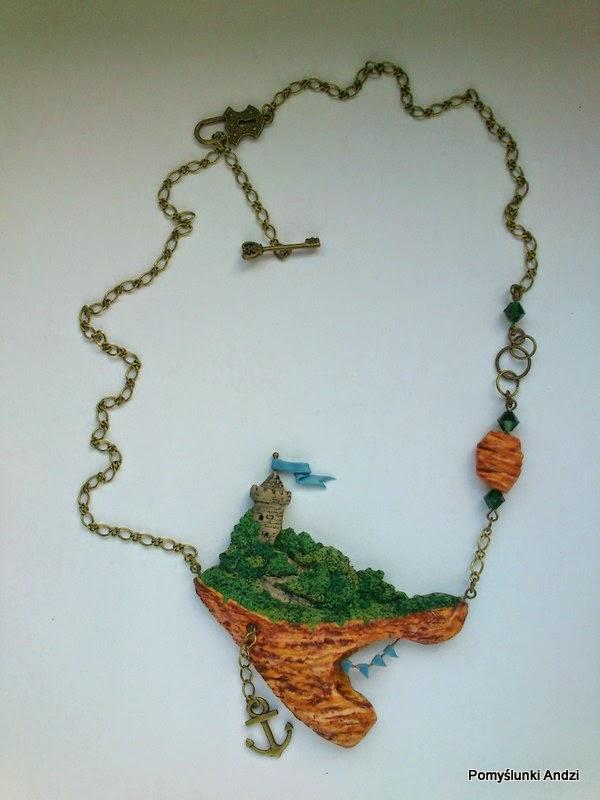 polymer clay, premo, fimo, ooak, jewelry, floating island, biżuteria