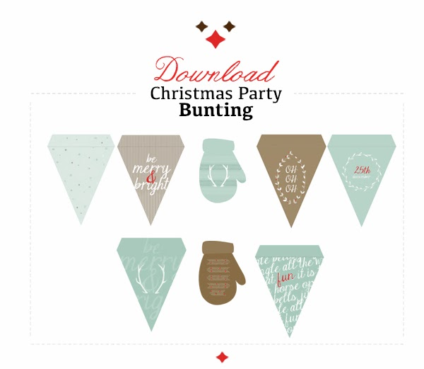 printable christmas triangles and mittens bunting