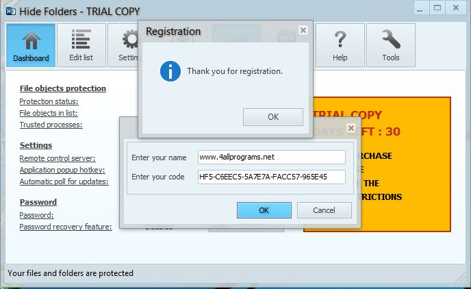 lock and hide folder registration key
