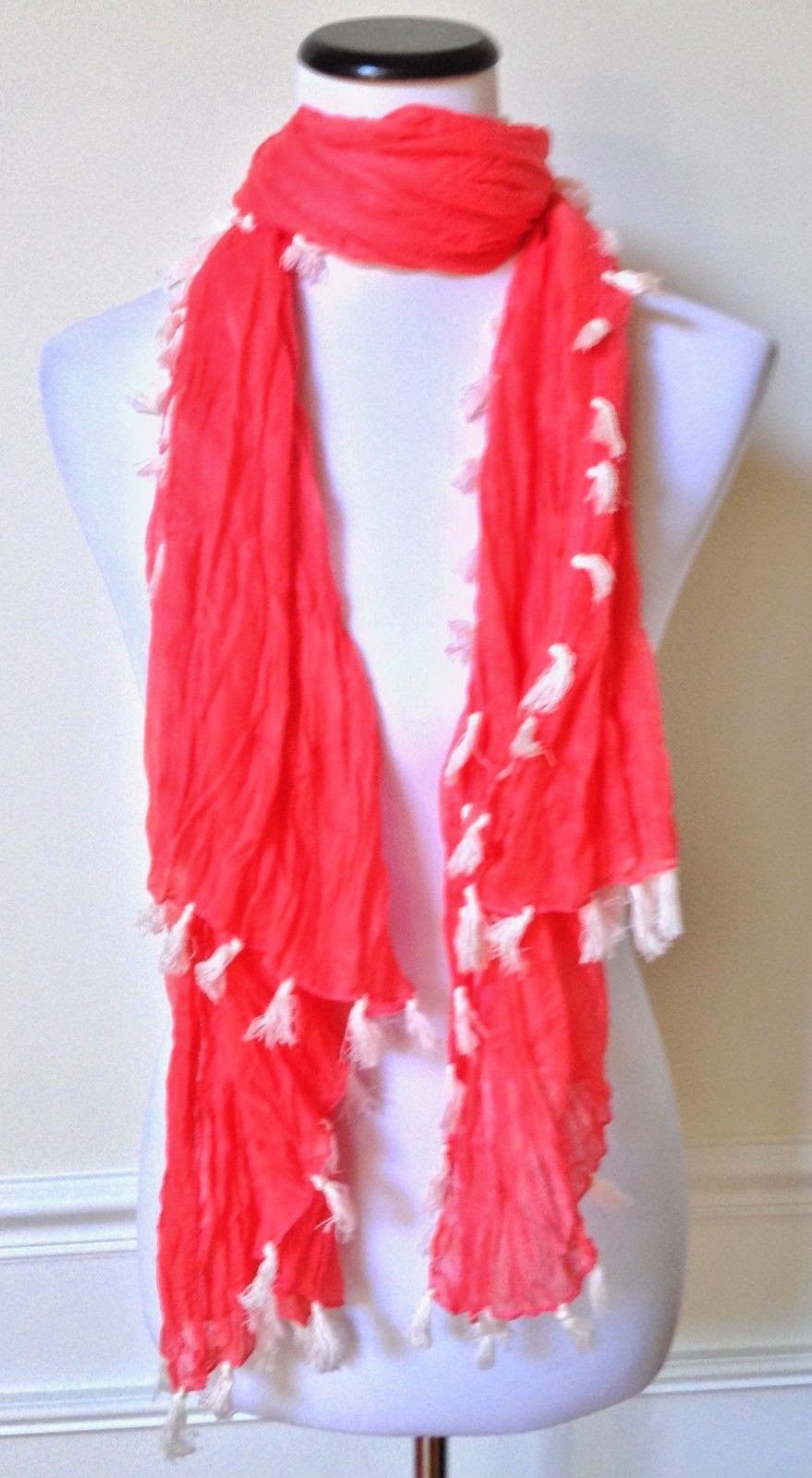 "NWOT CAPELLI Bright Coral Orange Ivory Tassel Knit Scarf Wrap Shawl 40"" x 65"""