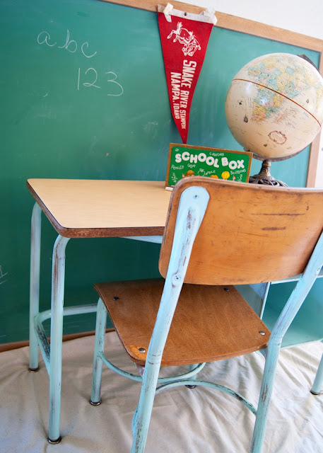 School Desk and Chair Makeover - aqua school desk, globe, pennant,