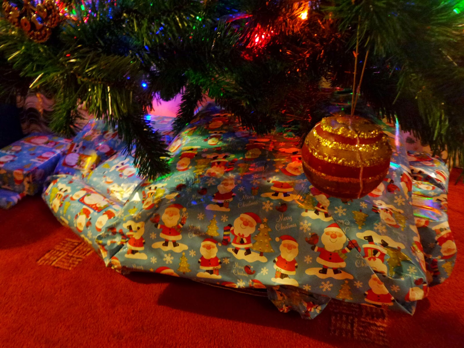 Secret Santa gifts under the tree
