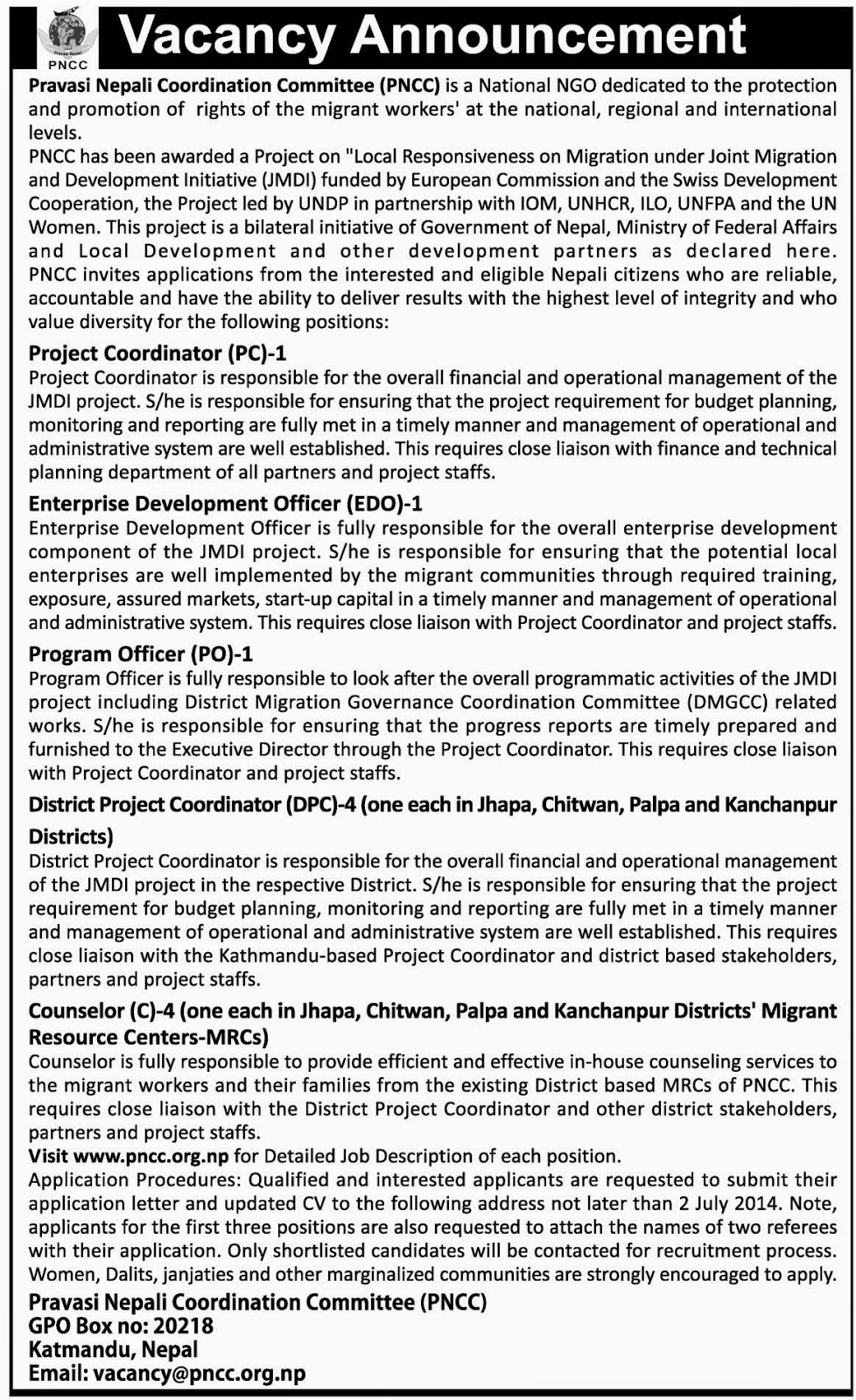 Vacancy announcement from Pravasi Nepali Coordination Committee (PNCC