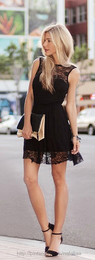 Black lace mini dress   #♥♥♥♥♥♥♥