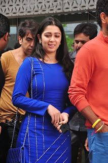Actress Charmi Kaur Latest Pictures in Short Dress with R Rajkumar Movie Team at Yes Mart 0003