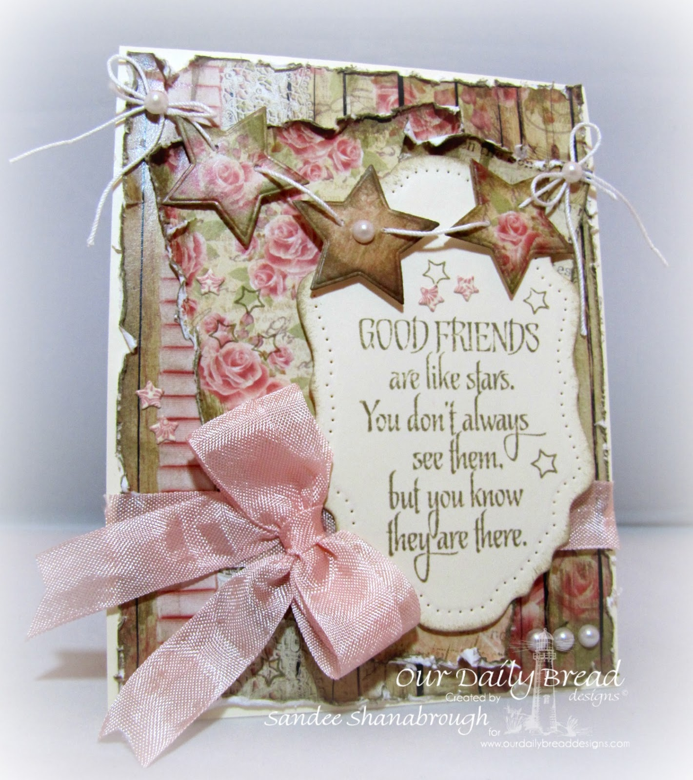 Stamps - Our Daily Bread Designs Reach for the Stars, His Birth, ODBD Custom Sparkling Stars Dies, ODBD Custom Vintage Flourish Pattern Die, ODBD Blushing Rose Paper Collection