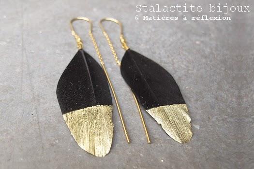 Boucles plumes noire et or Stalactite Bijoux