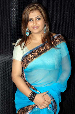 Tamil Hot Actress Sona in Blue Saree Photos