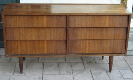 6 Drawer Angled Louvered Drawers Mid Century Modern Dresser Circa 1960s Ward Furniture