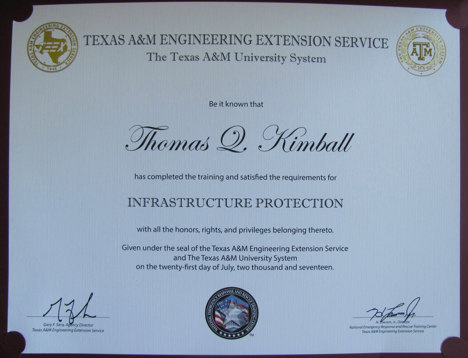 Texas A&M Engineering Extension Service TEEX Infrastructure Protection Certificate
