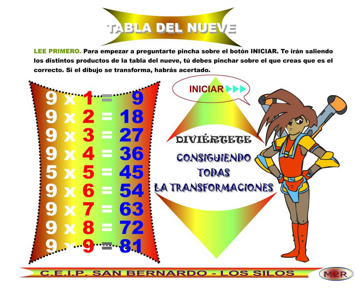 http://www3.gobiernodecanarias.org/medusa/eltanquematematico/preguntatablas/nueve/nueve_p.html