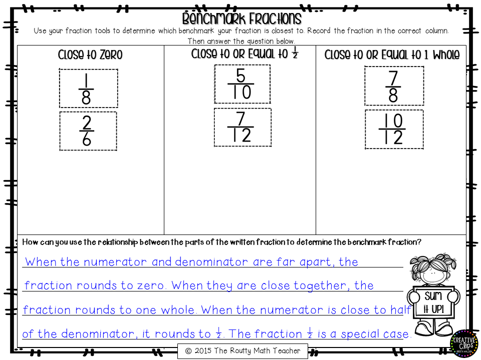 Benchmark Fractions Worksheet Davezan – Benchmark Fractions Worksheet
