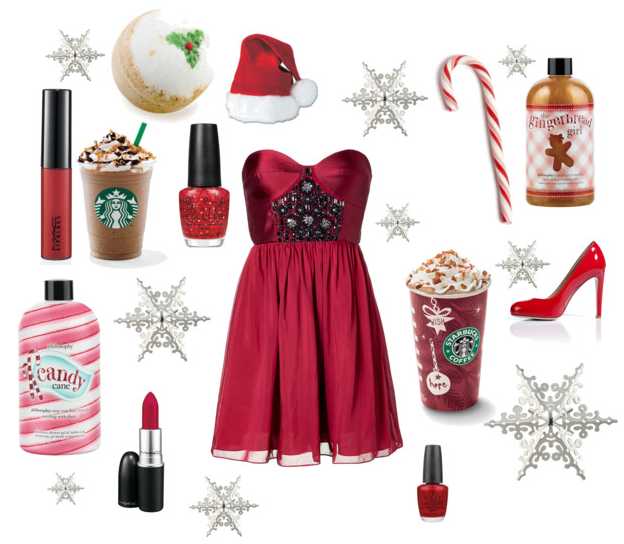 So I was on Polyore...this is what I came up with for a Christmas/fashion/beauty  inspired collage. - ™�: Polyvore- Christmas
