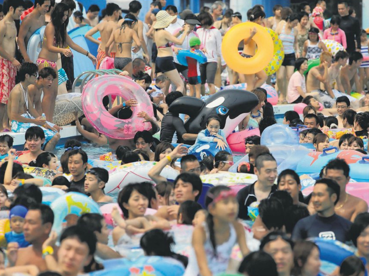 Mass cooling-off in Tokyo - temperature topped 40 ºC in two cities
