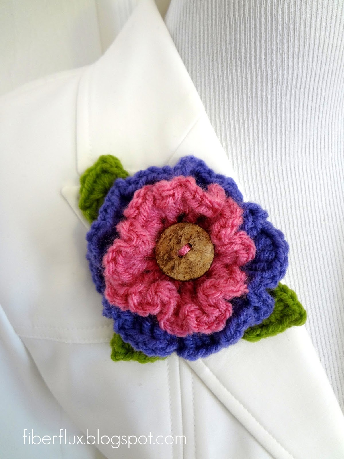 Fiber Flux: Free Crochet Pattern...Layered Ruffle Flower
