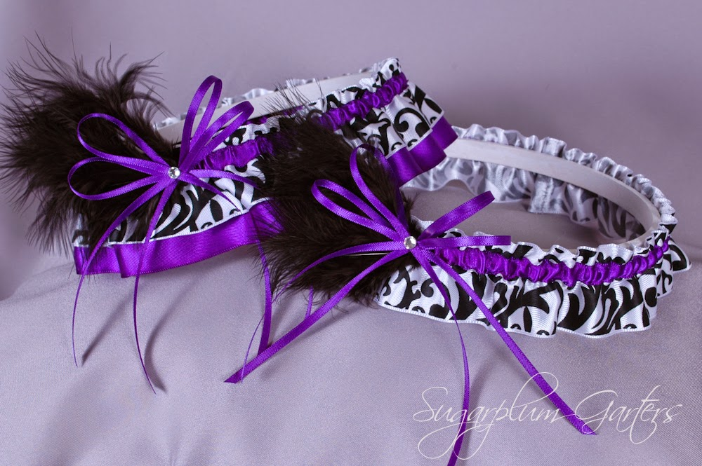 Wedding Garter Set in Purple & Damask Satin with Swarovski Crystals & Marabou Feathers by Sugarplum Garters