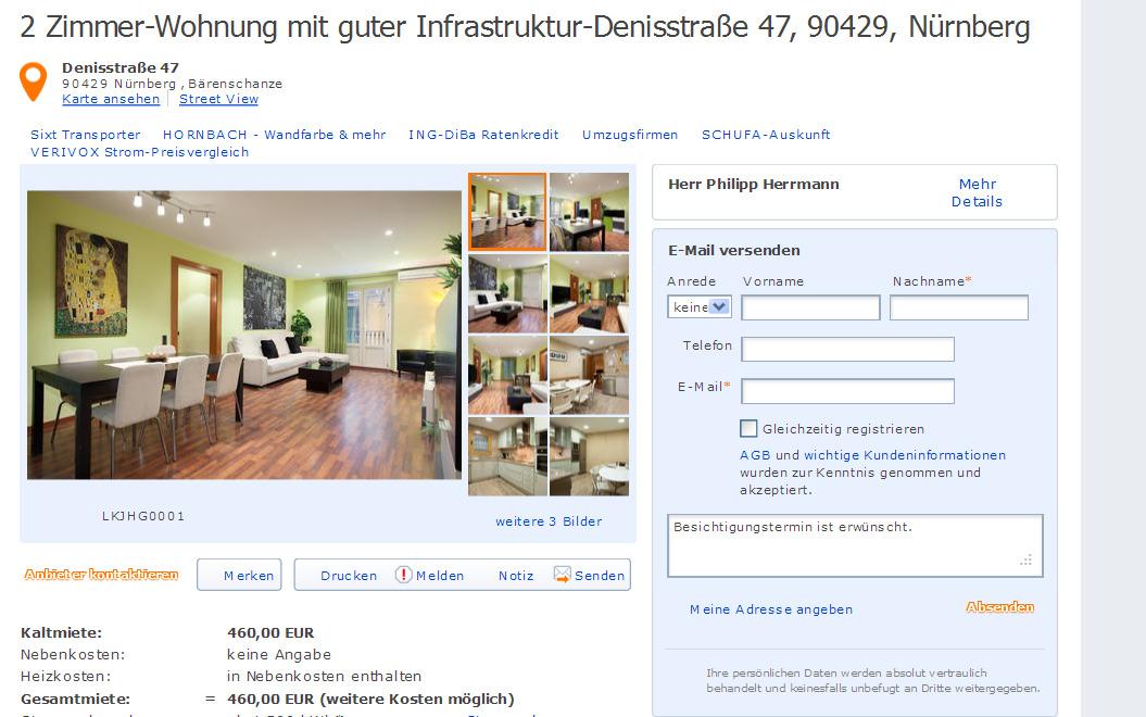 Denisstra e 47 90429 n rnberg gegen wohnungsbetrug for 2 zimmer wohnung nurnberg