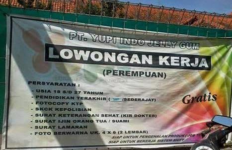 Lowongan Kerja PT. Yupi Indo Jelly Gum Terbaru