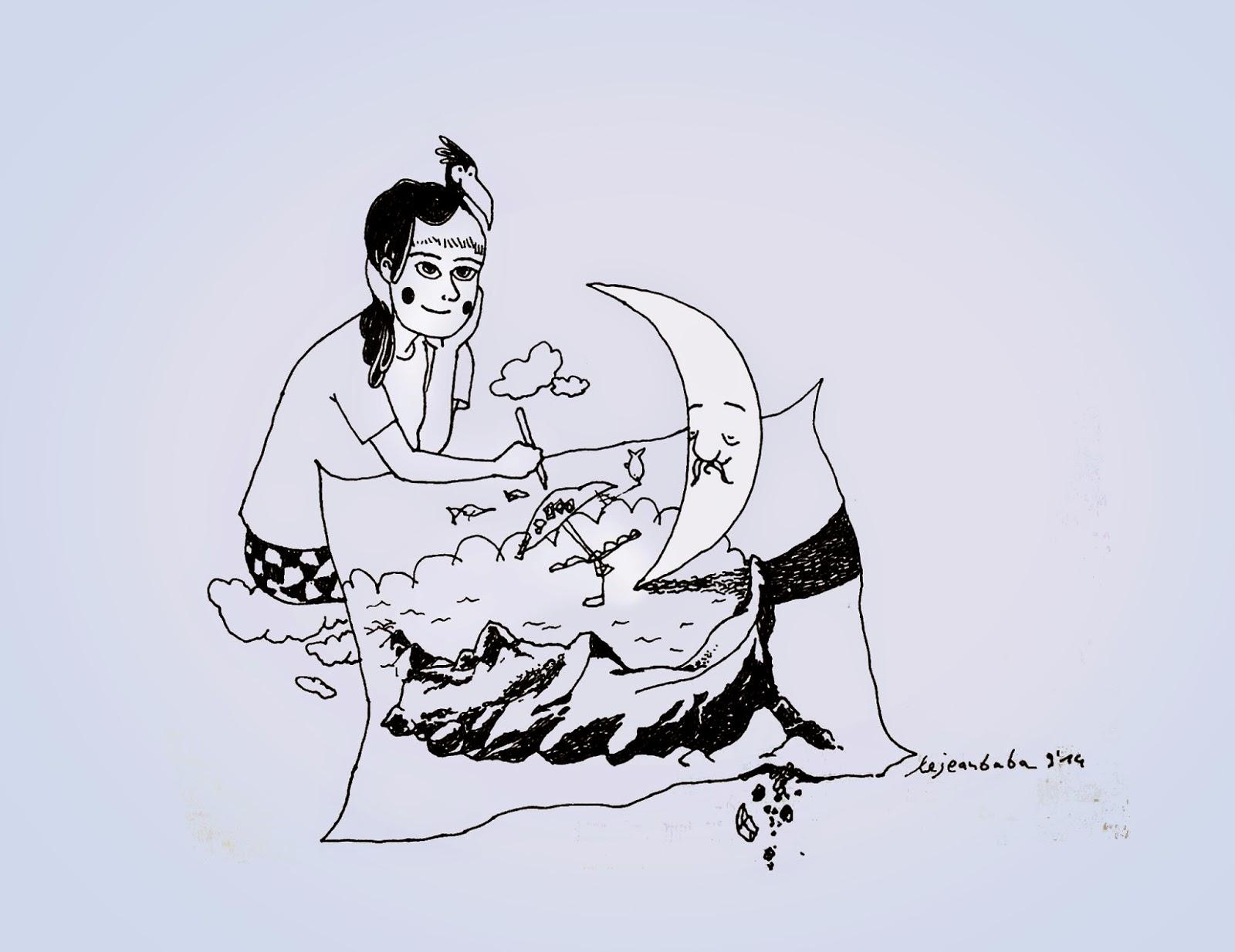 Zeichnung des Tages mit Kind und Mond #drawing
