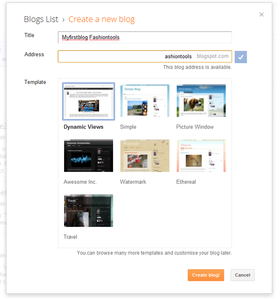 Create your blog step5