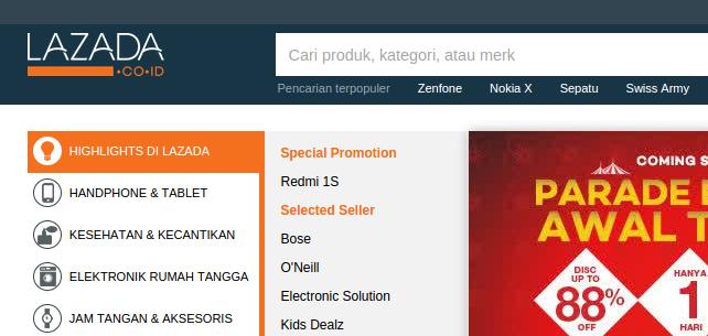screenshot dari toko online Lazada