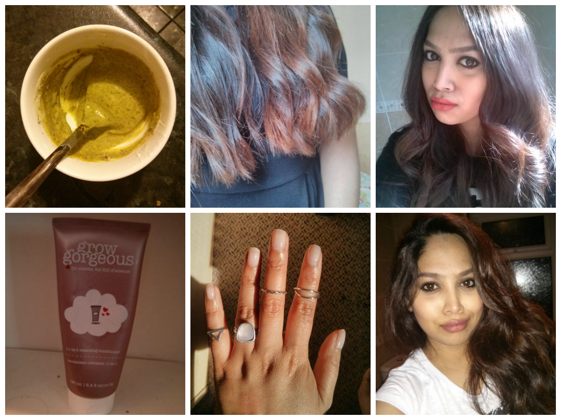 neem face mask, ombre hair, bobbi brown orange, bobbi brown cocoa, essie sugar daddy, grow gorgeous cleansing conditioner