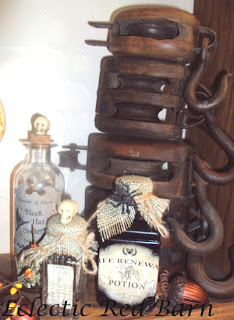 Halloween Potion Bottles with Wooden Pulleys