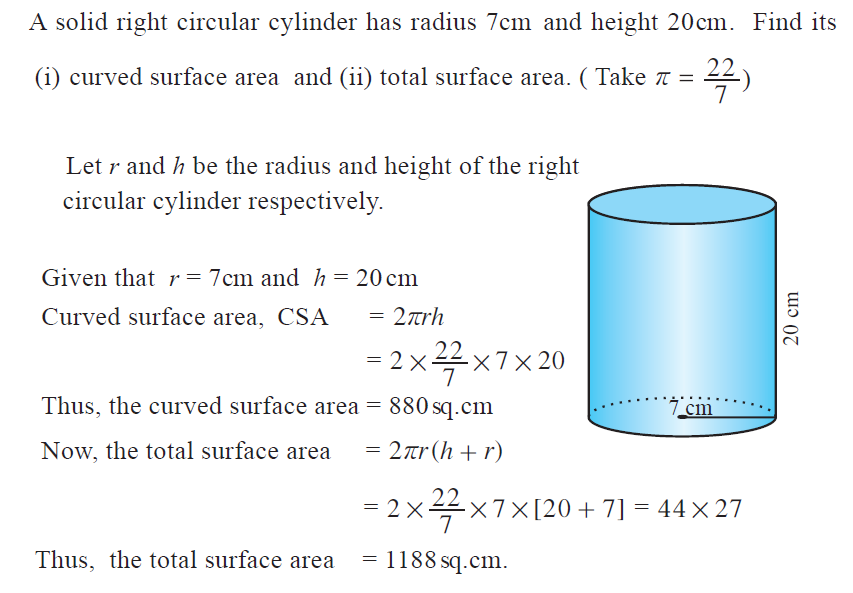 Omtex classes a solid right circular cylinder has radius 7 cm and a solid right circular cylinder has radius 7 cm and height 20 cm find its i curved surface area and ii total surface area take pi 227 ccuart Gallery