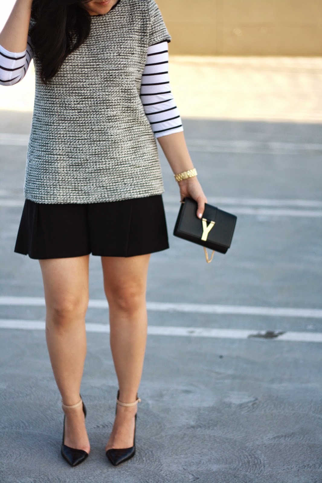 blogger, simplyxclassic, zara, loft, mommy blog, fashion, style, tweed, stripes, ysl, saint laurent,