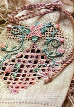 plocienny woreczek ozdobny haftowany