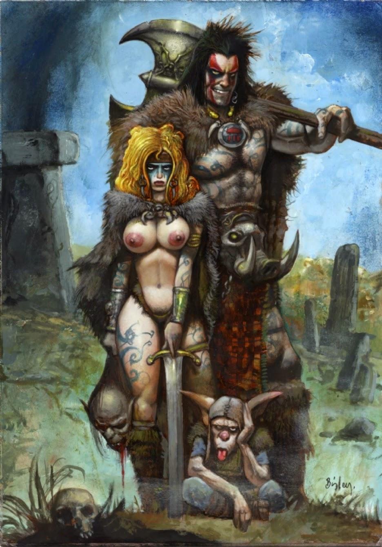 Dessin de Simon Bisley représentant Slaine, une guerrière sexy seins nus et un gnome